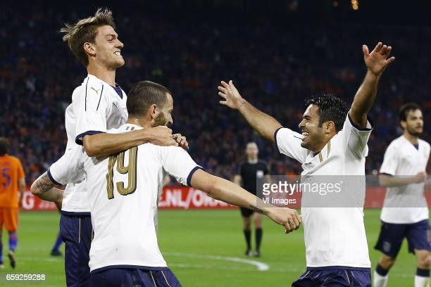 Daniele Rugani of Italy Leonardo Bonucci of Italy scored Citadin Martins Eder of Italyduring the friendly match between Netherlands and Italy at the...