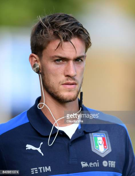Daniele Rugani of Italy looks on during the training session at Coverciano on August 30 2017 in Florence Italy