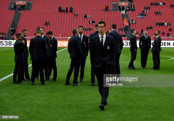Daniele Rugani of Italy looks on prior to the international friendly match between Netherlands and Italy at Amsterdam Arena on March 28 2017 in...