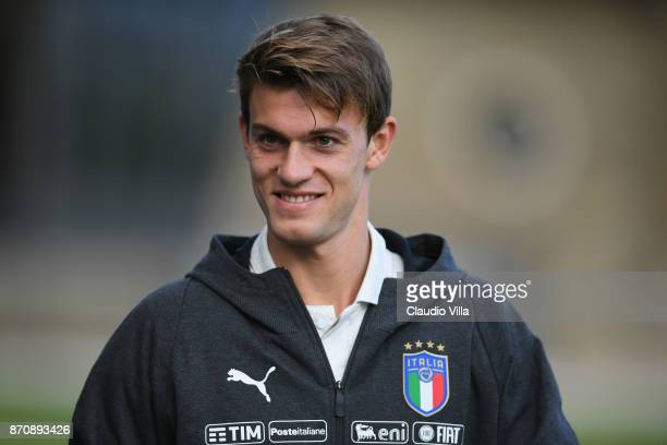 Daniele Rugani of Italy looks on prior to the training session at Italy club's training ground at Coverciano on November 6 2017 in Florence Italy
