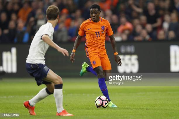 Daniele Rugani of Italy Quincy Promes of Hollandduring the friendly match between Netherlands and Italy at the Amsterdam Arena on March 28 2017 in...