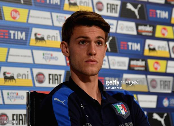 Daniele Rugani of Italy speaks with the media during the press conference at the club's training ground at Coverciano on March 26 2017 in Florence...