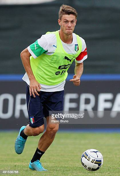 Daniele Rugani of Italy U21 in action during the Italy U21 training session at Mancini Sports Center on October 6 2015 in Rome Italy