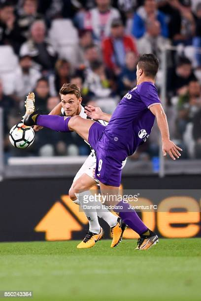 Daniele Rugani of Juventus competes for the ball during the Serie A match between Juventus and ACF Fiorentina on September 20 2017 in Turin Italy