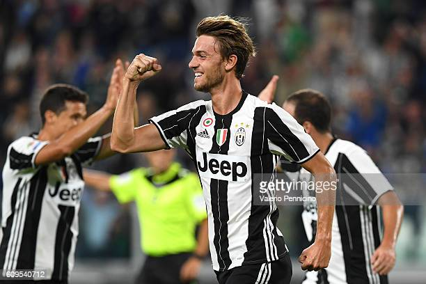 Daniele Rugani of Juventus FC celebrates after scoring the opening goal during the Serie A match between Juventus FC and Cagliari Calcio at Juventus...