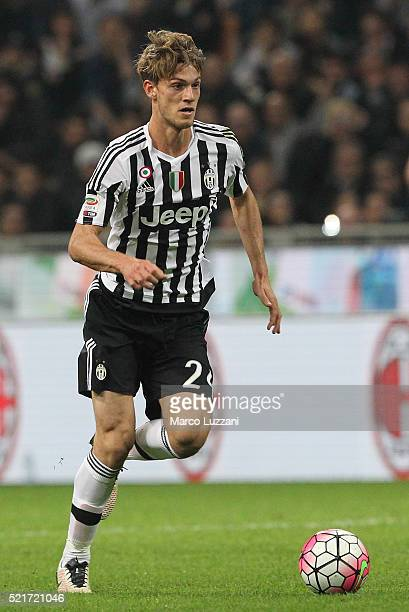 Daniele Rugani of Juventus FC in action during the Serie A match between AC Milan and Juventus FC at Stadio Giuseppe Meazza on April 9 2016 in Milan...