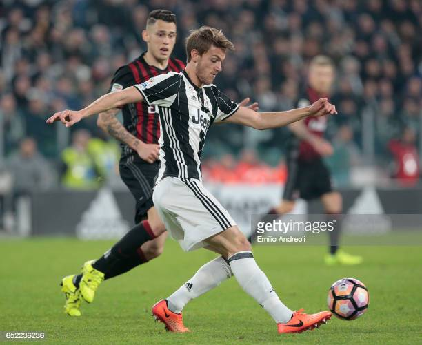 Daniele Rugani of Juventus FC in action during the Serie A match between Juventus FC and AC Milan at Juventus Stadium on March 10 2017 in Turin Italy