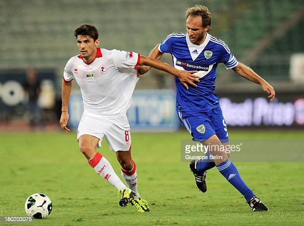 Daniele Sciaudone of Bari and Alessandro Budel of Brescia in action during the Serie B match between AS Bari and Brescia Calcio at Stadio San Nicola...