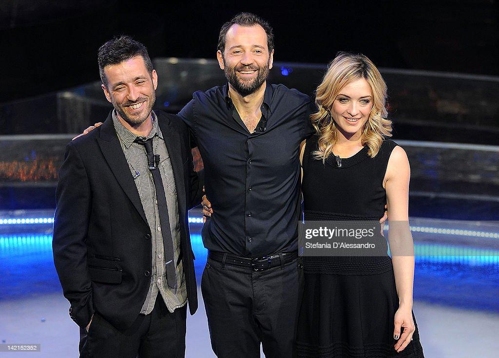 R Daniele Silvestri Fabio Volo and Carolina Crescentini attend 'Volo In Diretta' Italian TV Show held at Rai Studios on March 30 2012 in Milan Italy