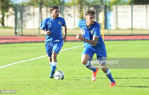 Daniele Verde and Michele Rocca of Italy U20 in action during the match between the Italy U20 v Poland U20 the 4 Nations Tournament at Stadio...