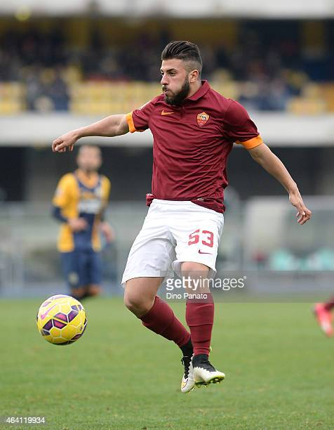 Daniele Verde of AS Roma controlls the ball during the Serie A match between Hellas Verona FC and AS Roma at Stadio Marc'Antonio Bentegodi on...