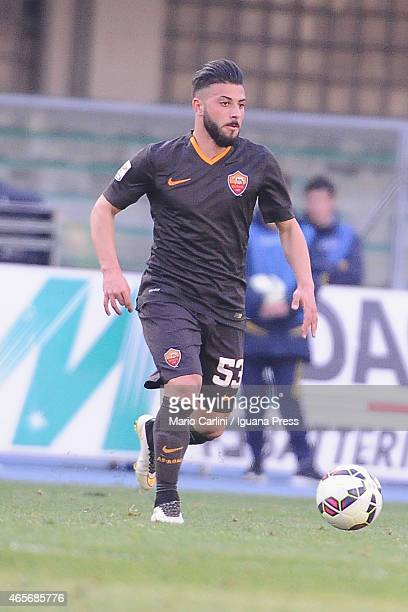 Daniele Verde of AS Roma in action during the Serie A match between AC Chievo Verona and AS Roma at Stadio Marc'Antonio Bentegodi on March 8 2015 in...