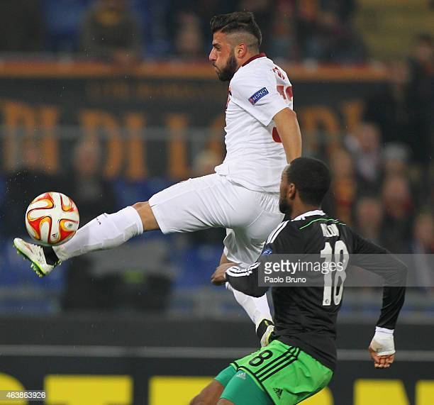 Daniele Verde of AS Roma in action during the UEFA Europa League Round of 32 match between AS Roma and Feyenoord at Olimpico Stadium on February 19...