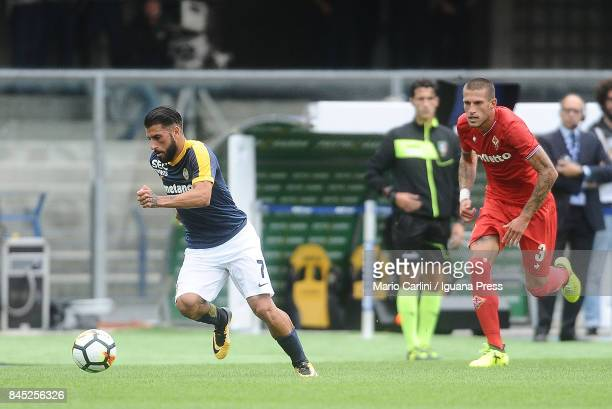 Daniele Verde of Hellas Verona FC in action during the Serie A match between Hellas Verona FC and ACF Fiorentina at Stadio Marc'Antonio Bentegodi on...
