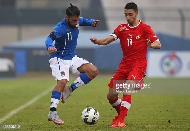 Daniele Verde of Italy competes for the ball with Joao Pedro Abreu of Switzerland during the match between Italy U20 and Switzerland U20 at Stadio...