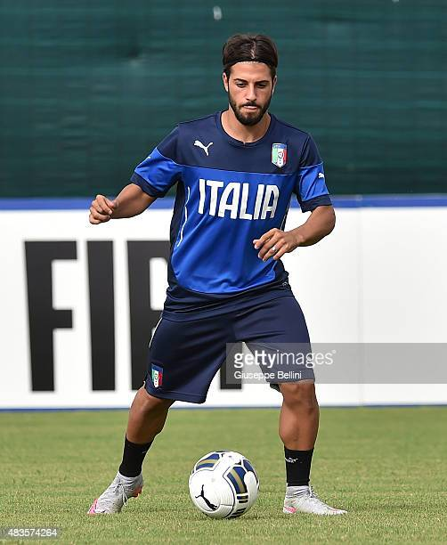 Daniele Verde of Italy in action during Italy U21 Training Session at Mancini Park Hotel on August 10 2015 in Rome Italy