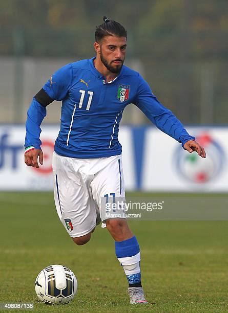 Daniele Verde of Italy in action during the match between Italy U20 and Switzerland U20 at Stadio Citta' di Meda on November 17 2015 in Meda Italy