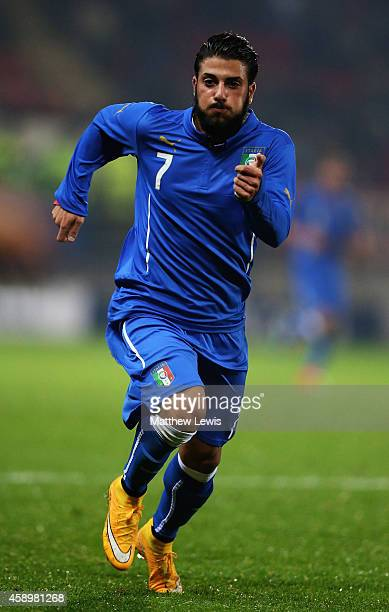 Daniele Verde of Italy in action during the U19 International friendly match between England and Italy at The New York Stadium on November 14 2014 in...