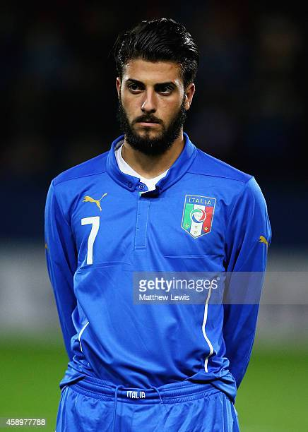 Daniele Verde of Italy looks on ahead of the U19 International friendly match between England and Italy at The New York Stadium on November 14 2014...