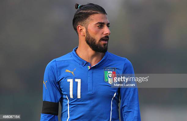 Daniele Verde of Italy looks on during the match between Italy U20 and Switzerland U20 at Stadio Citta' di Meda on November 17 2015 in Meda Italy