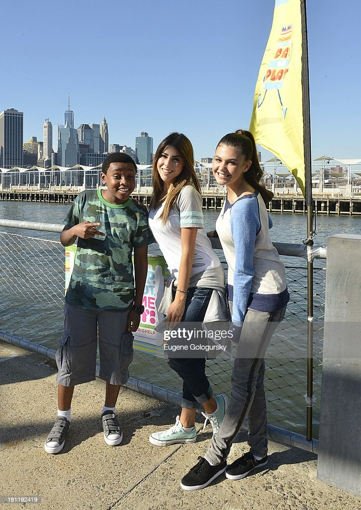 Daniella Monet, Amber Montana and Curtis Harris Jr. attend the Nickelodeon And Brooklyn Bridge Park Host Mini-Triathlon on September 19, 2013 in New York City.