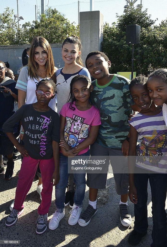 Daniella Monet, Amber Montana and Curtis Harris Jr. attend the Nickelodeon And Brooklyn Bridge Park Host Mini-Triathlon on September 19, 2013 in New York City.