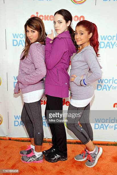 Daniella Monet Elizabeth Gillies and Ariana Grande celebrate Nickelodeon's largest ever Worldwide Day of Play at the Ellipse on September 24 2011 in...
