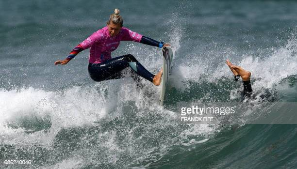 TOPSHOT Daniella Rosas of Peru competes the heats 43 Round 2 on May 21 2027 in Biarritz southwestern France during the 2017 ISA World Surfing Games...