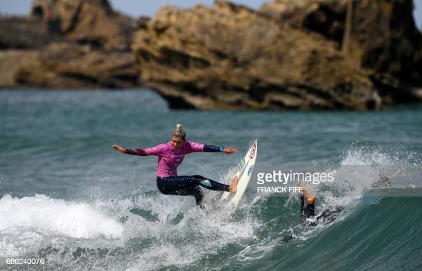 Daniella Rosas of Peru competes the heats 43 Round 2 on May 21 2027 in Biarritz southwestern France during the 2017 ISA World Surfing Games The event...