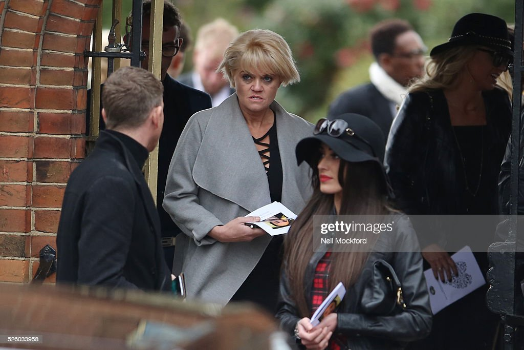 Daniella Westbrook and Christopher Maloney depart the funeral of David Gest at Golders Green Crematorium on April 29, 2016 in London, England.