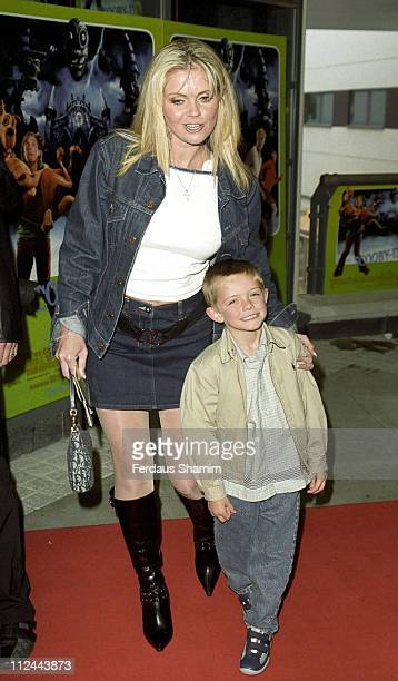Daniella Westbrook and Son during Scooby Doo London Premiere at Leicester Square in London Great Britain