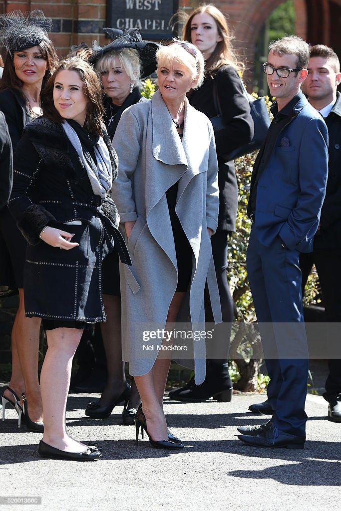 Daniella Westbrook arriving at the funeral of David Guest at Golders Green Crematorium on April 29, 2016 in London, England.