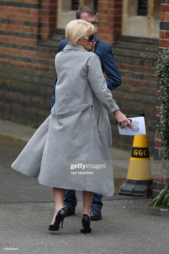 Daniella Westbrook departs the funeral of David Gest at Golders Green Crematorium on April 29, 2016 in London, England.