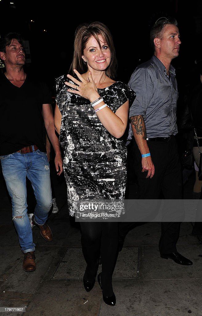 Daniella Westbrook shows off her Engagement ring, as she leaves Cafe De Paris night club in Leicester Square. on September 6, 2013 in London, England.