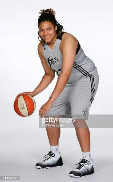 Danielle Adams of the San Antonio Silver Stars poses for an action portrait during WNBA Media Day at the Antioch Sports Complex on May 18 2011 in San...