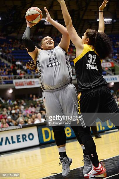 Danielle Admas of the San Antonio Stars goes up for a shot against the Tulsa Shock at the Freeman Coliseum in San Antonio TX on July 17 2015 in San...