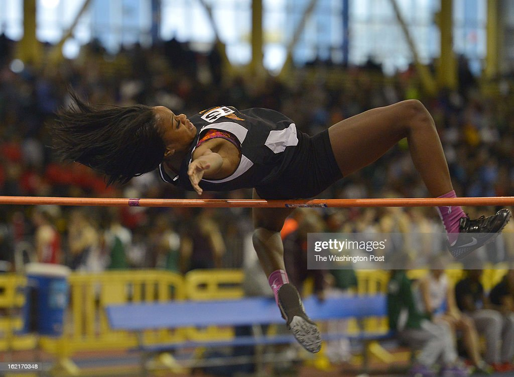 Danielle Baker of North Point High School clears 5'4' in the 4A Girl's High Jump to win the event during the Maryland 3A/4A Indoor Track Championships at the Prince George's Sports and Learning Complex on February 19, 2013 in Landover, Md.
