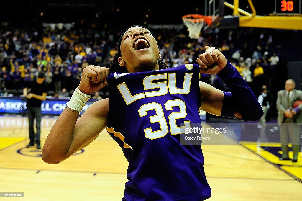 Danielle Ballard #32 of the LSU Tigers celebrates a victory over the Penn State Lady Lions following the second round of the NCAA Tournament at the Pete Maravich Assembly Center on March 26, 2013 in Baton Rouge, Louisiana. LSU won the game 71-66.