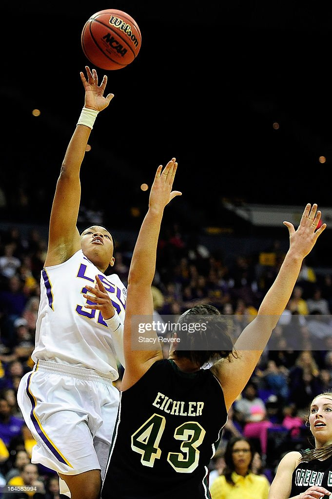 Danielle Ballard #32 of the LSU Tigers shoots over Sarah Eichler #43 of the Green Bay Phoenix during the first round of the NCAA Tournament at the Pete Maravich Assembly Center on March 24, 2013 in Baton Rouge, Louisiana. LSU won the game 75-71.