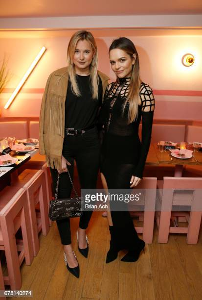 Danielle Bernstein and Maria Hatzistefanis pose for a photo together as Hatzistefanis and Brad Goreski host Rodial VIP Dinner on May 3 2017 in New...