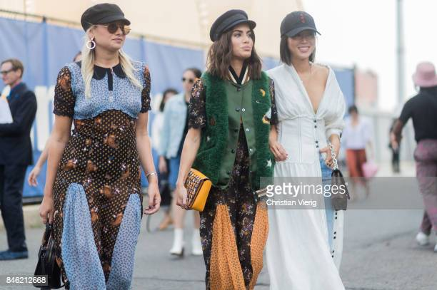 Danielle Bernstein Calima Coelho Aimee Song seen in the streets of Manhattan outside Coach during New York Fashion Week on September 12 2017 in New...