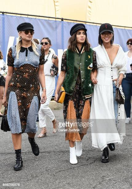 Danielle Bernstein Camila Coehlo and Aimee Song are seen outside the Coach show during New York Fashion Week Women's S/S 2018 on September 12 2017 in...