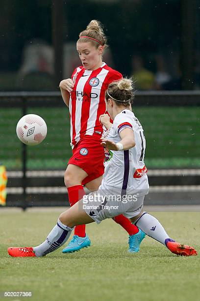 Danielle Brogan of Perth Glory challenges Kim Little of Melbourne City during the round 10 WLeague match between Melbourne City FC and Perth Glory at...