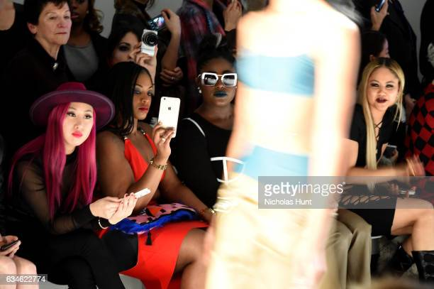 Danielle Brooks and Kat DeLuna attend the Chromat collection front row during New York Fashion Week The Shows at Gallery 3 Skylight Clarkson Sq on...