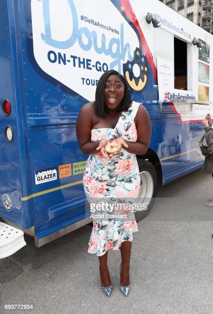 Danielle Brooks attends #DeltaAmexPerks Dough OnTheGo tour kickoff with Danielle Brooks in New York City at Flatiron Plaza on June 8 2017 in New York...