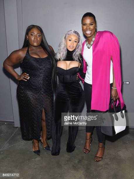 Danielle Brooks Cardi B and Leslie Jones pose backstage for the Christian Siriano fashion show during New York Fashion Week The Shows at Pier 59 on...