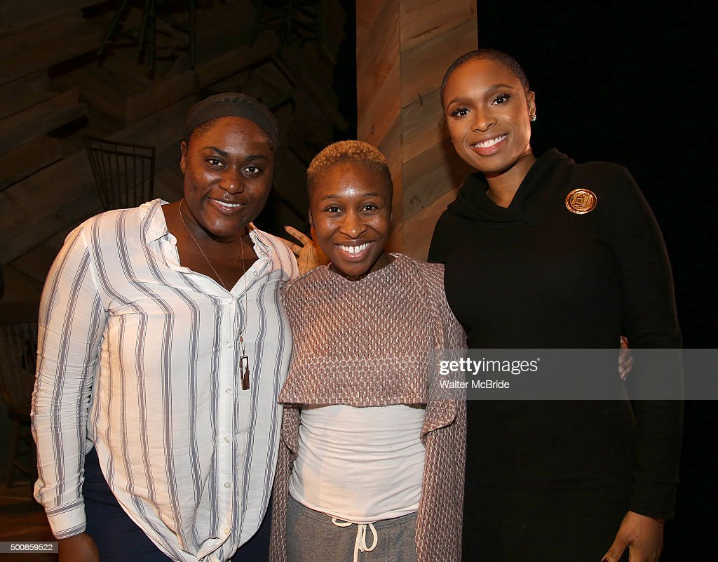 Danielle Brooks, Cynthia Erivo and Jennifer Hudson during the Broadway Opening Night Actors' Equity Gypsy Robe Ceremony celebrating Grasan Kingsberry for 'The Color Purple' at the Bernard B. Jacobs Theatre on December 10, 2015 in New York City.