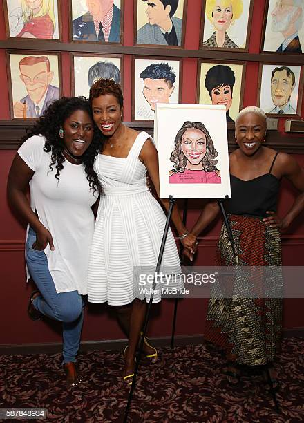 Danielle Brooks Heather Headley and Cynthia Erivo attend the unveiling of Healther Headley's Portrait on the Sardi's Wall of Fame at Sardi's...