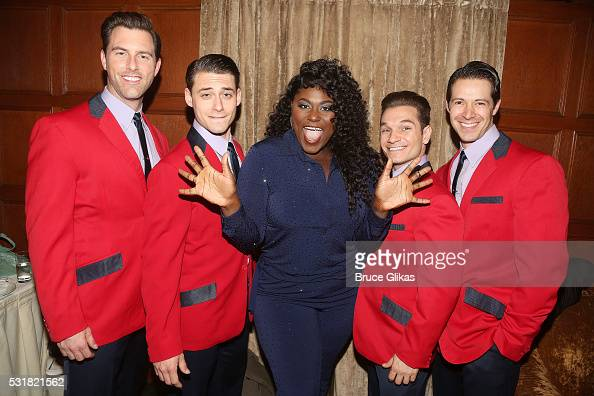 Danielle Brooks poses with the cast of 'Jersey Boys' Michael Lomenda Rory Max KaplanChristopher Messina and Stephen Cerf backstage at the Manhattan...