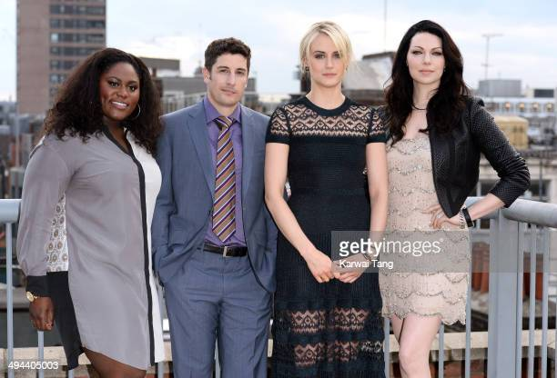 Danielle Brooks Taylor Schilling Jason Biggs and Laura Prepon attend a photocall to launch season 2 of the Netflix exclusive series 'Orange Is The...